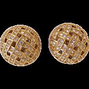 signed Swarovski Criss Cross Rhinestone Clip Earrings