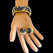 Swarovski Celestial Stars and Moon Clamper Bracelet and Clip Earring Set