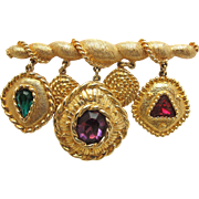 Vintage S.A.L. Swarovski Rhinestone Dangle Bar Pin