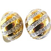 Vintage Swarovski Domed Clip Earrings