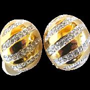 Vintage Swarovski Domed Clip Earrings