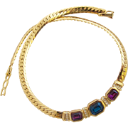 Vintage S.A.L. Swarovski Gold Plated Gem Crystal Choker Necklace