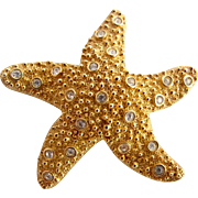 Vintage Swarovski Gold Plated Starfish Brooch
