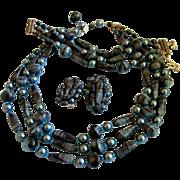 Schiaparelli Teal Blue Bead Parure