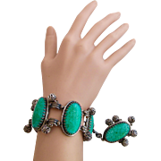 Vintage Schiaparelli Bracelet with Faux Jade Stones and Fob