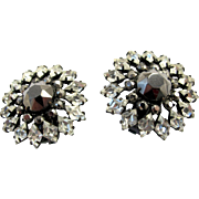 Vintage Schreiner Grey Rhinestone Clip Earrings