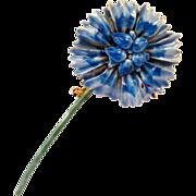 Sandor Blue Enamel Daisy Flower Pin