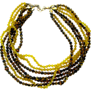 Vintage Sandor Yellow and Brown Glass Bead Necklace