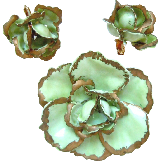 Vintage SANDOR Green Enamel Flower Brooch with Earrings