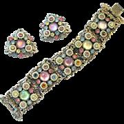 Selro Ornate Faux Pearl Pastel Bracelet and Earring Set
