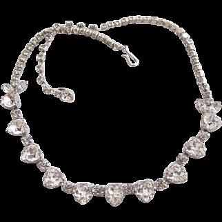 Rare Vintage Sherman Heart Rhinestone Choker Necklace