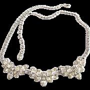 Vintage Sherman Clear Rhinestone Necklace