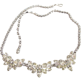 Vintage Sherman Clear Rhinestone Necklace