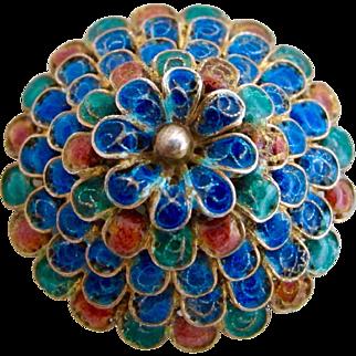 Vintage 850 Silver Domed Flower Glass Petal Brooch
