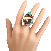 Vintage Zuni Inlay Man's Ring by LPT - Native American
