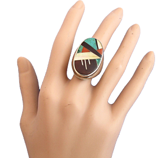 Vintage Zuni Inlay Man's Ring by LPT - Native American