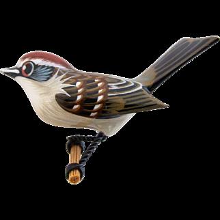 Vintage Painted Wood Hand Carved Brown Bird Pin