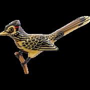Vintage Takahashi Style Wood Roadrunner Bird Pin