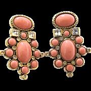 Elizabeth Taylor Sea Coral Clip Earrings