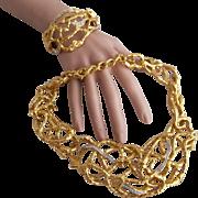 Vintage Elizabeth Taylor for Avon Treasured Vine Necklace and Clamper Bracelet Set