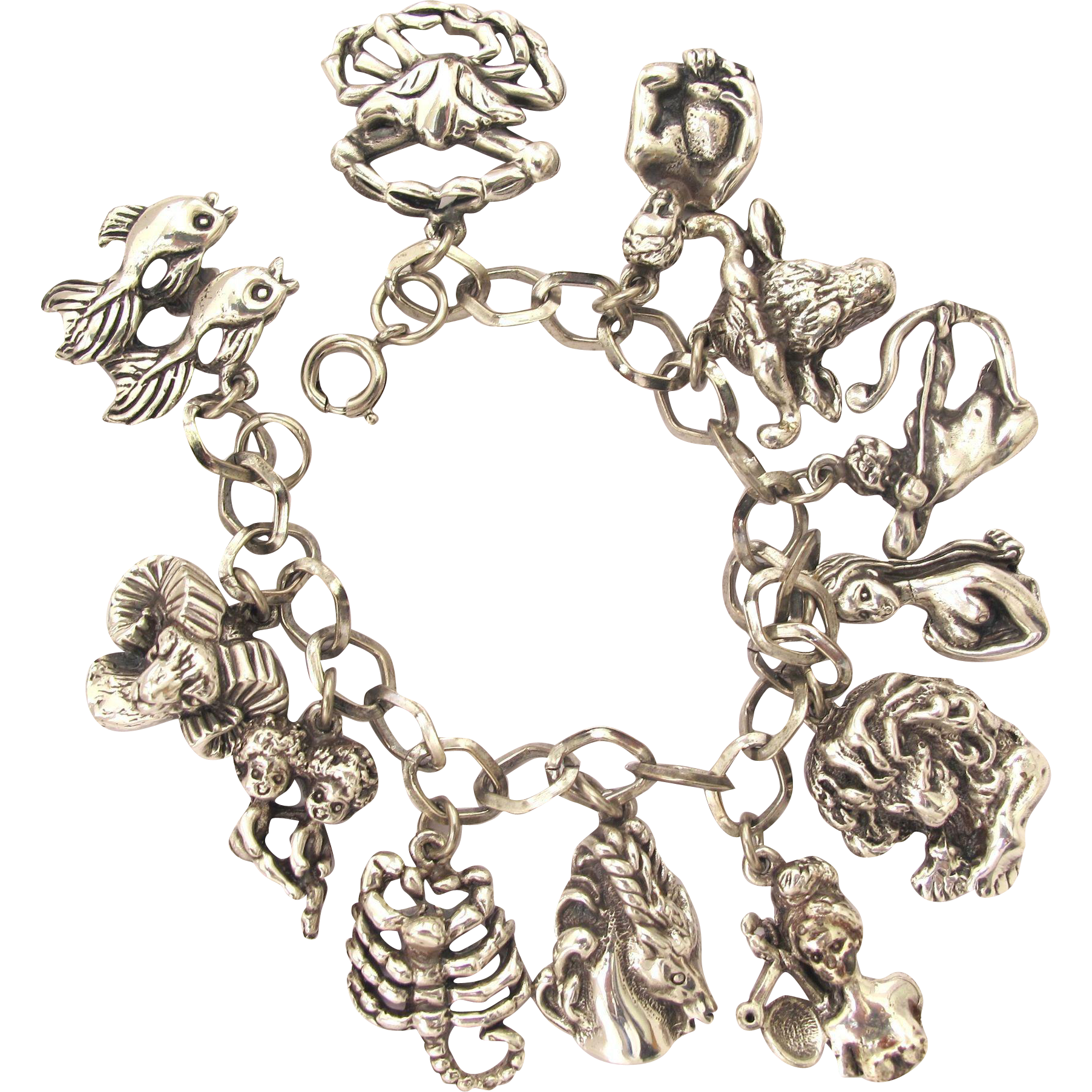 Charms And Bracelets: Tortolani Silver Toned Zodiac Charm Bracelet From