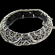Vintage Tortolani Crislu Scrollwork Curved Link Bracelet