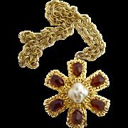 Vintage Tortolani Huge Rhinestone Pendant Necklace