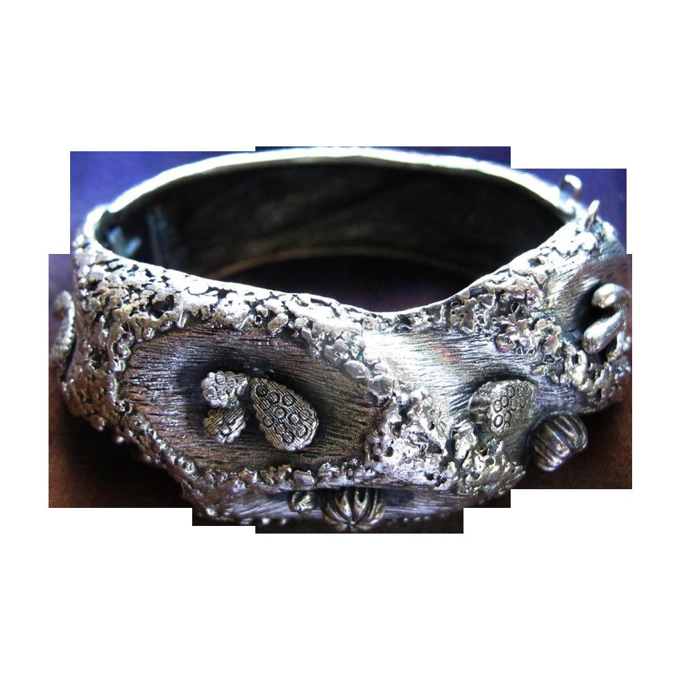 Tortolani Desert Theme Silver Toned Clamper Bracelet