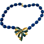 Trifari Teal Blue Bead and Enamel Bow Choker Necklace