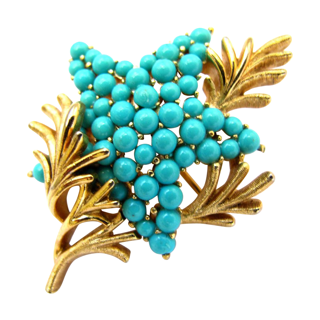 Crown Trifari Faux Turquoise Starfish Pin 2hearts