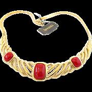 Trifari Gold Tone and Red Cabochon Choker Necklace - Original Tag