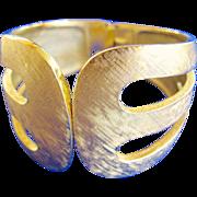 Trifari Wide Brushed Gold Tone Clamper Bracelet