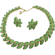 Trifari Green Cabochon Laurel Leaf Necklace and Earring Set