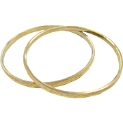 Vintage Crown Triafari Etched Gold Tone Bangle Duo