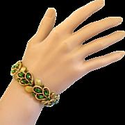 Trifari Green Rhinestone Bracelet