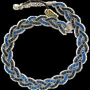 Trifari Two Blue Cavalcade Necklace - Advertisement Piece