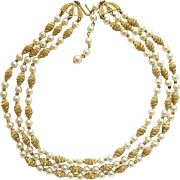 Trifari Three Strand Faux Pearl and Gold Tone Bead Necklace