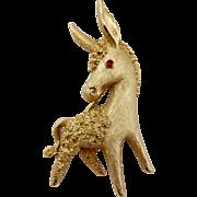 Vintage Trifari Gold Tone Donkey Pin