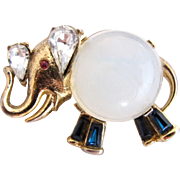 Trifari Alfred Phillippe Glass Body Elephant Pin