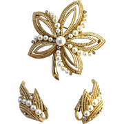 Vintage Trifari Gold Tone and Faux Pearl Leaf Brooch and Earring Set