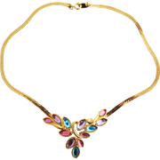 Vintage Trifari TM Pastel Glass Leaf Choker Necklace