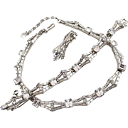 Vintage Trifari Clear Baguette Rhinestone Necklace Bracelet Set