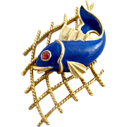 Vintage Trifari Enamel Blue Fish in Net Brooch