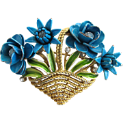 Vintage Crown Trifari Turquoise Flower Basket Pin