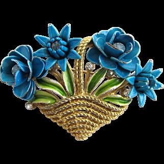 Vintage Crown Trifari Turquoise Flower Basket Pin