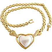 Vintage Trifari TM Faux Pearl Heart Necklace with Gold Tone Chain