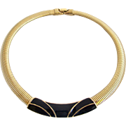 Vintage Trifari Black Enamel Omega Chain Choker Necklace