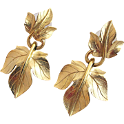 Vintage Kunio Matsumoto Trifari Pierced Gold Tone Dangle Grape Earrings