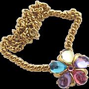 Vintage Trifari TM Pastel Lucite Flower Choker Pendant Necklace