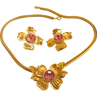 Vintage Trifari TM Pink Rhinestone Dogwood Necklace and Clip Earring Set